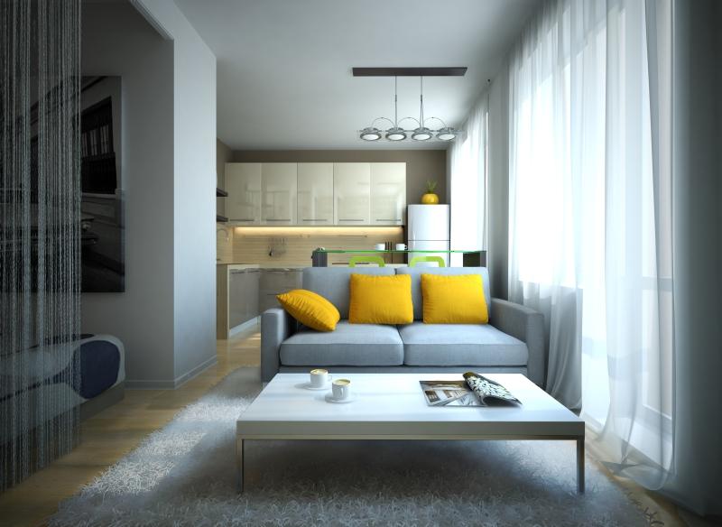Wizualizacje mieszkanie od a do z - Cuisine ouverte sur salon petit espace ...